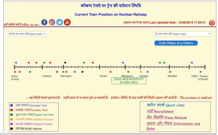KONKAN RAILWAY ONLINE TRAIN TRACKER