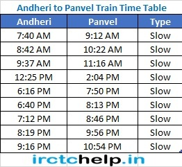 Andheri to Panvel Mumbai Local latest Train Time Table