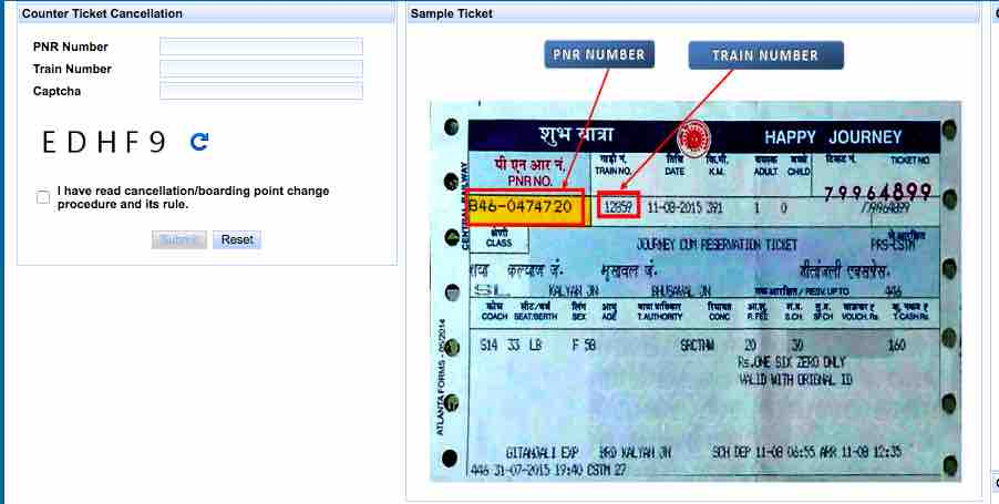 COUNTER TICKETS CANCELLATION PROCEDURE BY IRCTC