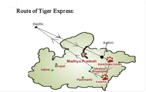 Route Map of Tiger Express : Indian Railway