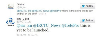 Bedroll online purchase starting status IRCTC twitter replay
