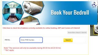 Bedroll Online Purchase Webpage of IRCTC