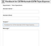 Tejas Express : Feedback form by Konkan Railway