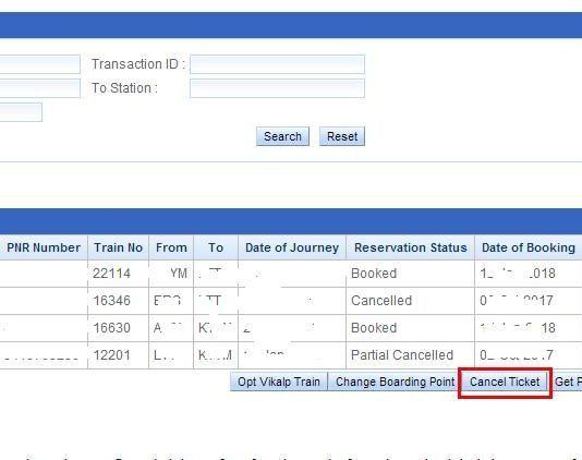 IRCTC Ticket Cancellation