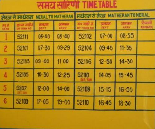 NERAL - MATHERAN TOY TRAIN TIMINGS