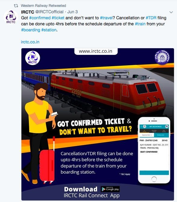 IRCTC Refund Rule - Cancellation of Ticket