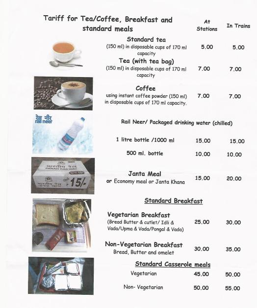Catering Charges by Indian Raliway