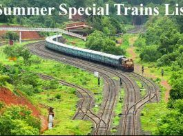 Summer Special Trains List 2019
