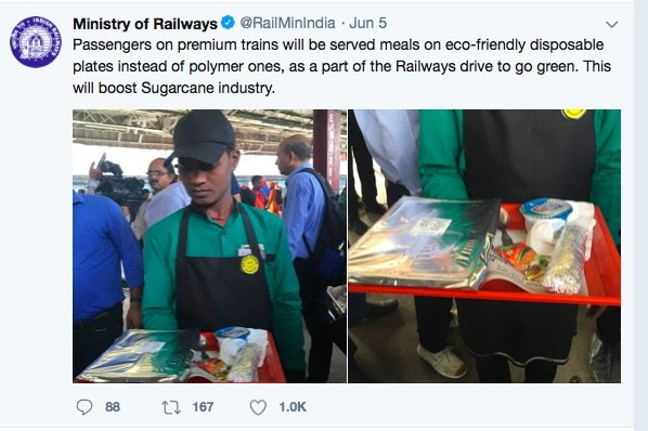 IRCTC Introduced Bagasse Based Food Packaging