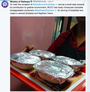 Bagasse Based Food Packaging by IRCTC