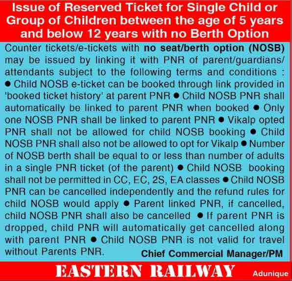Child Fare Rule in Trains for Reserved Tickets