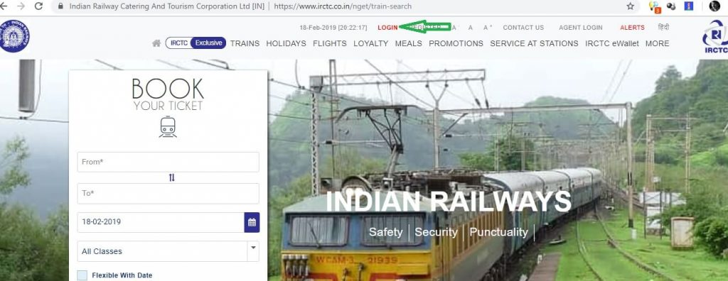 IRCTC Website Home Page