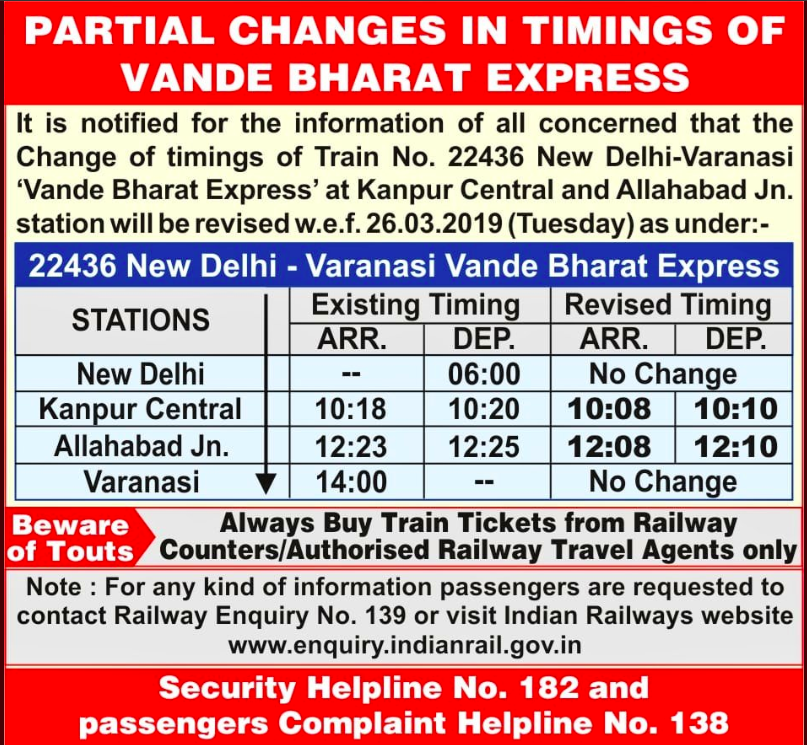 revised timing of Vande Bharat Express