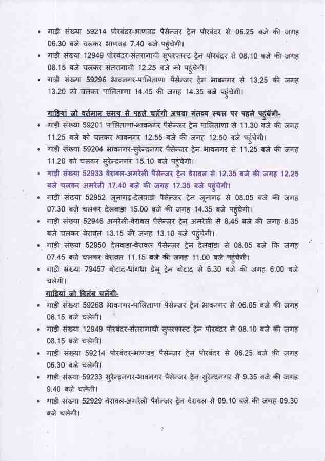 Western Railway's Bhavnagar Division's Train Time Table