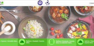 IRCTC Food Menu Rates Details