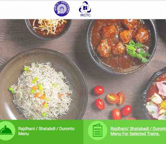 IRCTC Food Menu Rates Details