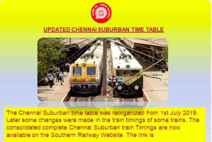 Chennai Suburban Train Time Table