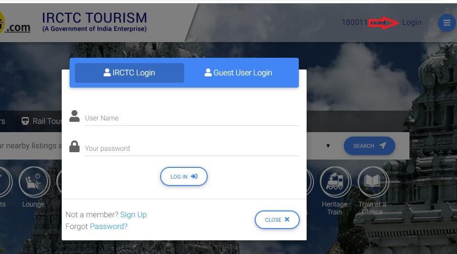 IRCTC Tourism Login Page