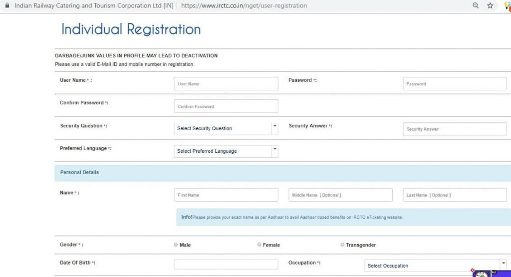IRCTC Individual User Registration Page