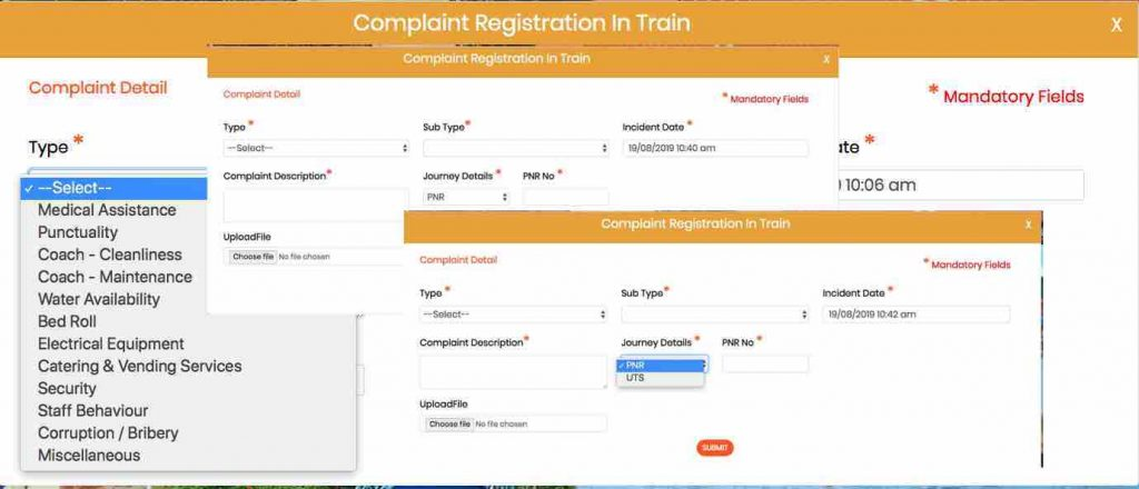 Rail MADAD Complaint Registration in Train