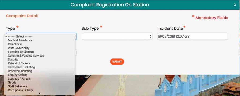 Rail MADAD : Complaint Registration on Station