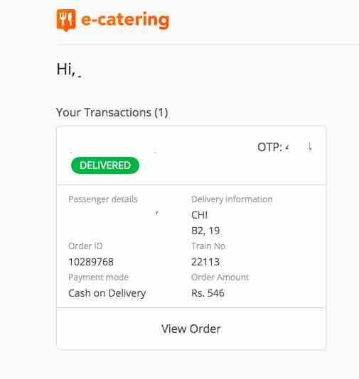 IRCTC E - Catering