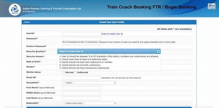 Train or Coach Booking FTR