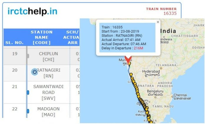 Live Train Running Status details with Google Map