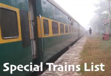 Special trains List 2019 - 2020
