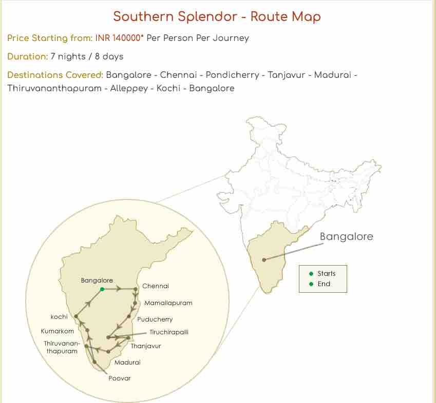 Southern Splendor - Route Map