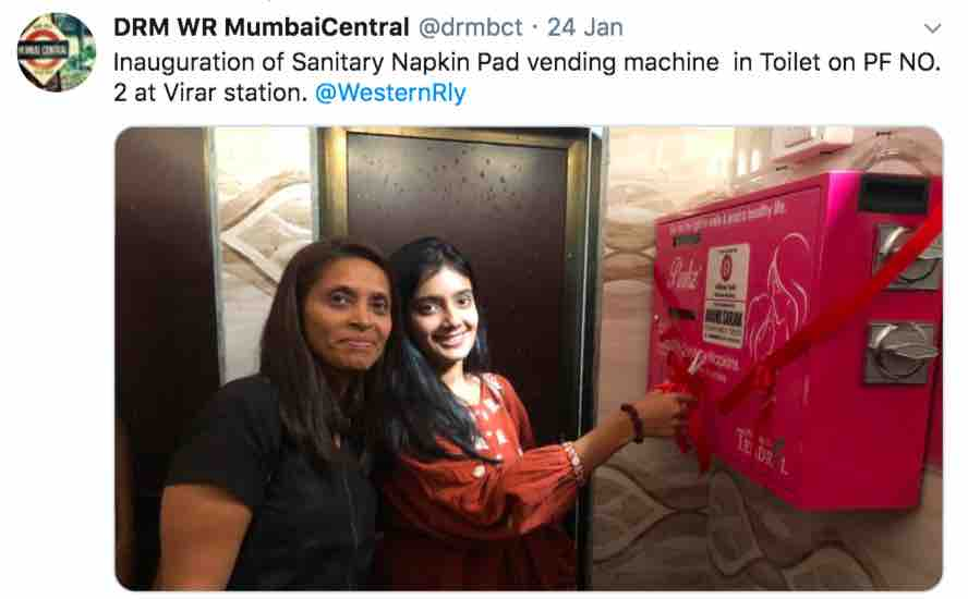 Sanitary Napkin Pad vending machine at Virar station