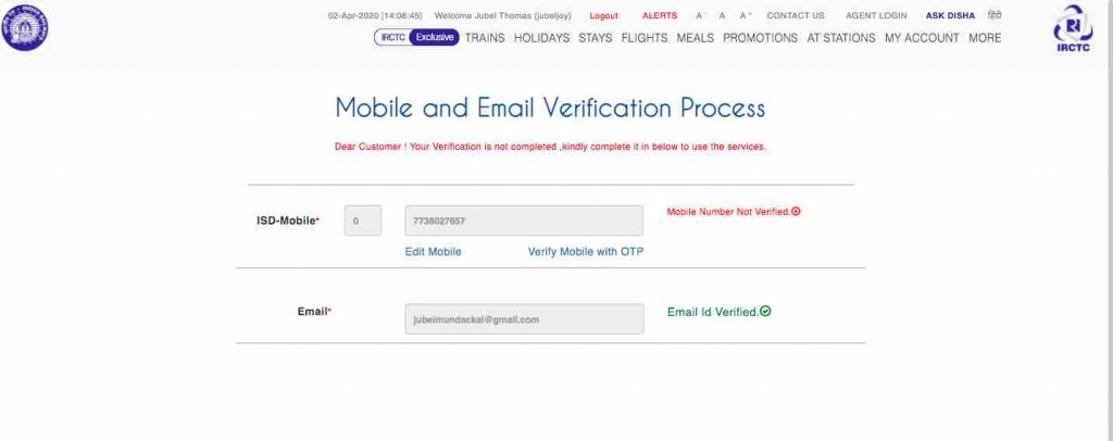 IRCTC Mobile and Email Verification process details