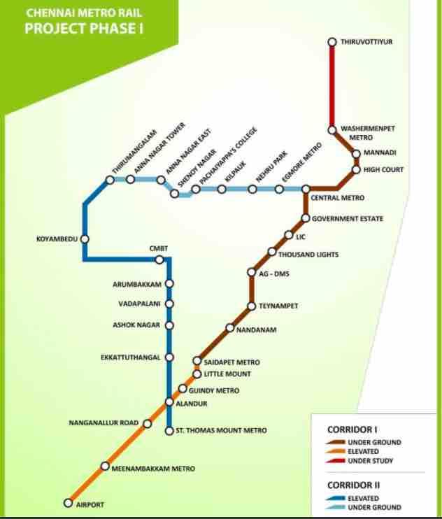 Chennai Metro Rail ~ Route Map