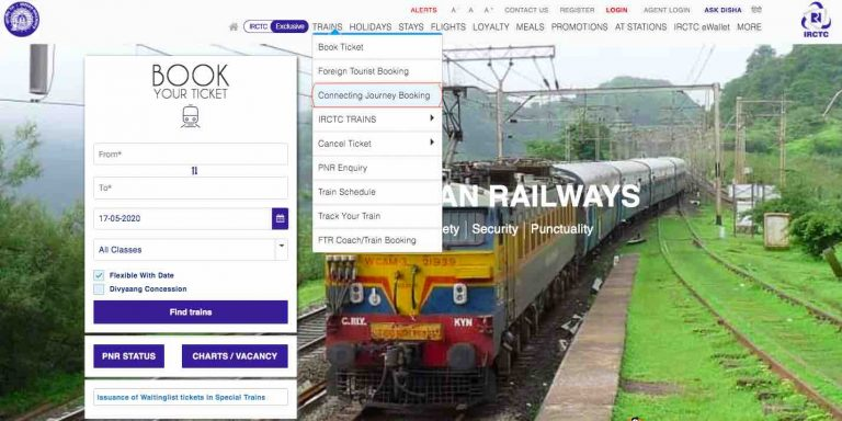 Connecting Journey Booking by Indian Railway
