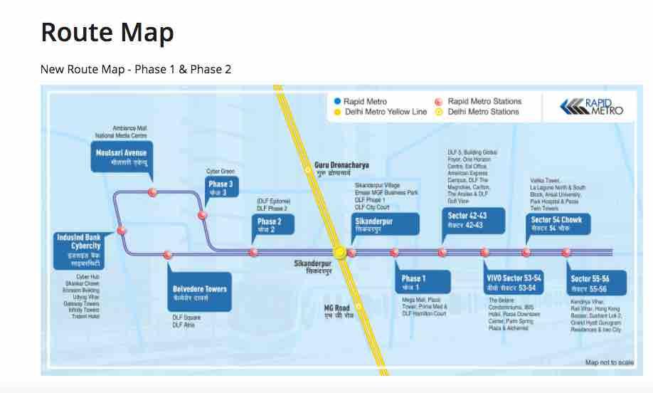 Route Map - Gurugram Rapid Metro