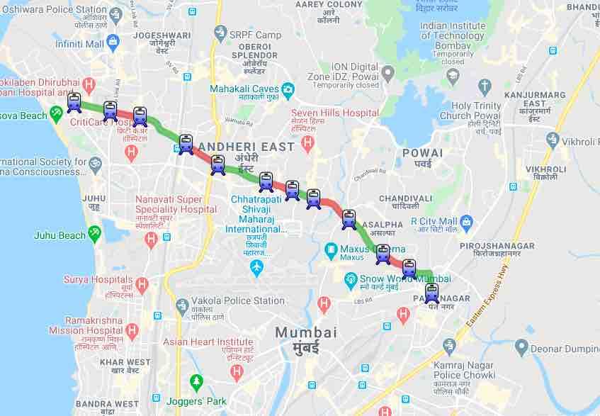 Mumbai Metro - Route Map, Versova D.N. Nagar Azad Nagar Andheri Western Express Highway Chakala (J.B.Nagar) Airport Road Marol Naka Saki Naka Asalpha Jagruti Nagar Ghatkopar
