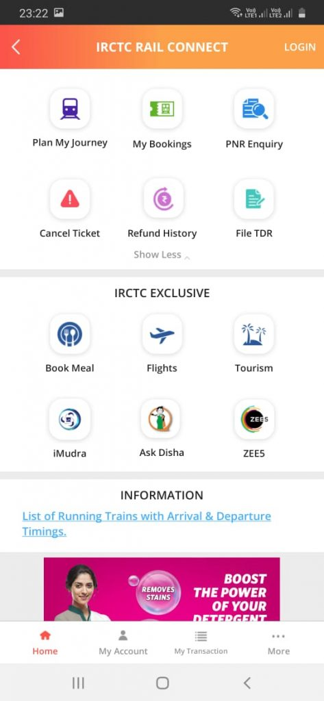 IRCTC Rail Connect latest Android Mobile App dashboard