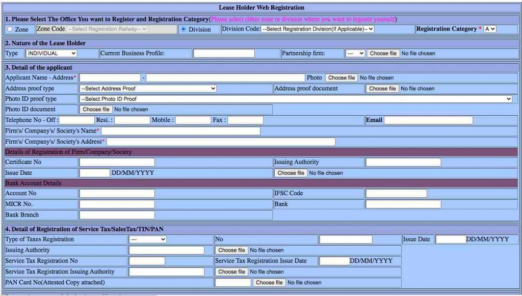 Lease Holder Web Registration - Parcel Rates in Indian Railway