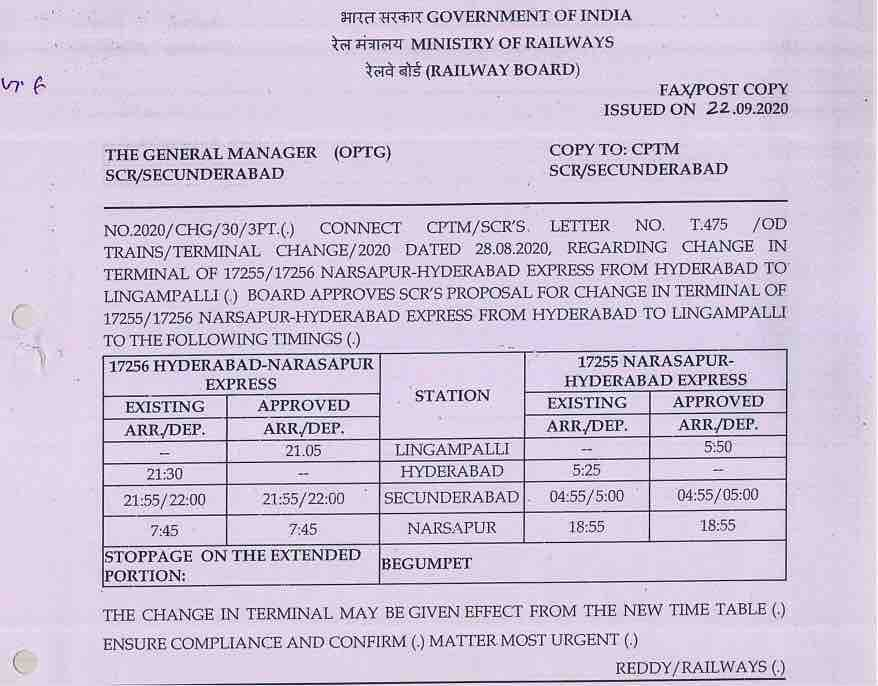 Change in Terminal of 17255/56 Narsapur-Hyderabad Express from Hyderabad to Lingampalli
