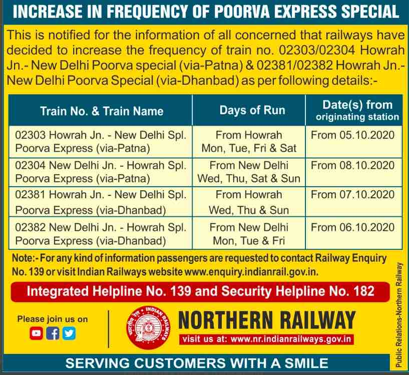 Train Time Table 2021 - Increase in the frequency of Poorva Express