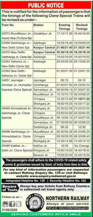 Train Time Table 2021 - Timings of the Clone Special Trains changed