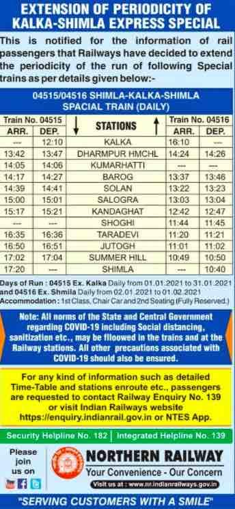 Extension of periodicity of Kalka-Shimla Express Special train