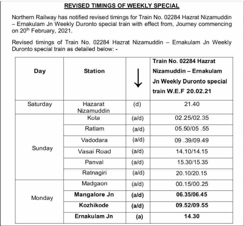 Train no. 02284 / 02283 H. Nizamuddin - Ernakulam Jn. - H. Nizamuddin Duranto Weekly Special