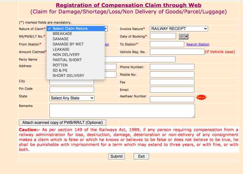Registration of Compensation Claim through Web