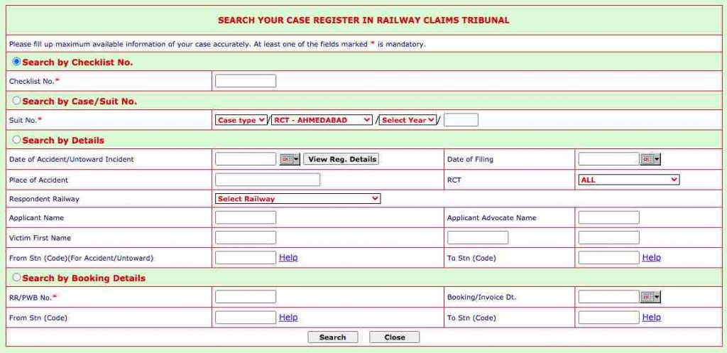 SEARCH YOUR CASE REGISTER IN RAILWAY CLAIMS TRIBUNAL