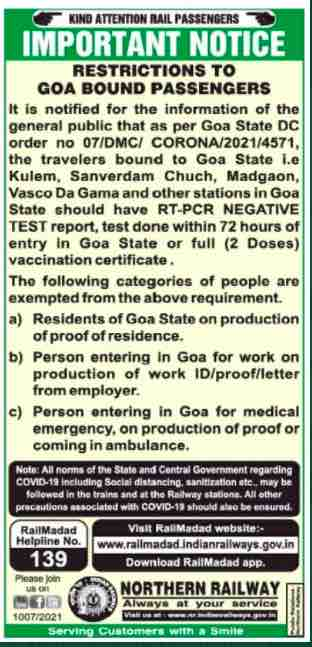 Covid 19 - Restrictions to Goa bound passengers