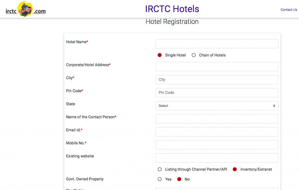 IRCTC Hotel Booking Registration